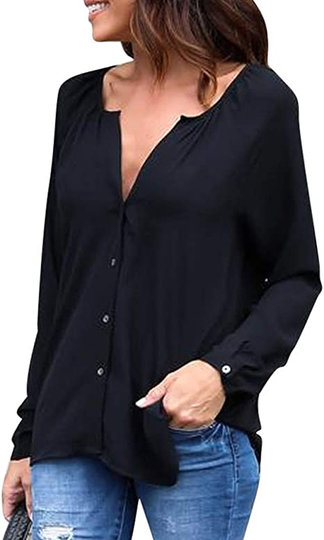 Camisas Mujer Blusa con Botones Camisetas Manga Larga Sexy Tops Color Sólido Cuello en V Low Cut Sexy Camisetas y Tops Camisas De Vestir: Amazon.es: Ropa y accesorios