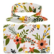 Bab Swaddle Blanket Headband Set Unisex Toddler Nurseing Wrap Cover (9090cm, Flowers)
