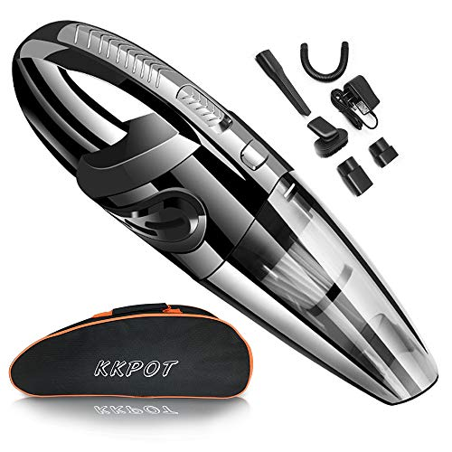 KKPOT Handheld Vacuum Cordless,Powerful Cyclone Suction Protable Rechargeable Vacuum Cleaner with Carrying Bag,Quick Charge Wet Dry Vacuum for Home Car Pet Hair Cleaning