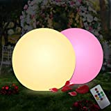 pearlstar Solar Floating Ball Light RGB Globe Mood Light Remote Control Color Changing Globe Night Light for Swimming Pool Garden Lawn Decoration (1 Pack)