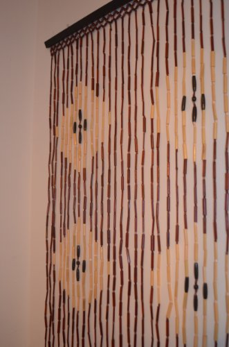 Natural Bamboo & Wood Beaded Curtain, Diamond Pattern , 35.43'' W X 71'' H # 69-907 by H2H (Image #1)