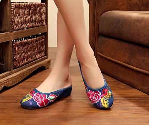 ZQ Gestickte Schuhe, Sehnensohle, ethnischer Stil, weiblicher Flip Flop, Mode, bequem, Sandalen , grey , 36