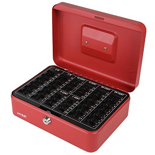 HMF 208-03 Geldkassette Euro-Münzbrett 25 x 18 x 9 cm , rot