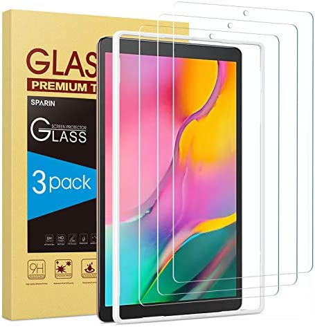 Screen Protector for Galaxy Tab A 10.1 2019, [3-Pack] SPARIN 9H Hardness Tempered Glass for Samsung Galaxy Tab A 10.1 2019 SM-T515/T510, Bubble Free/High Response/Scratch Resistant
