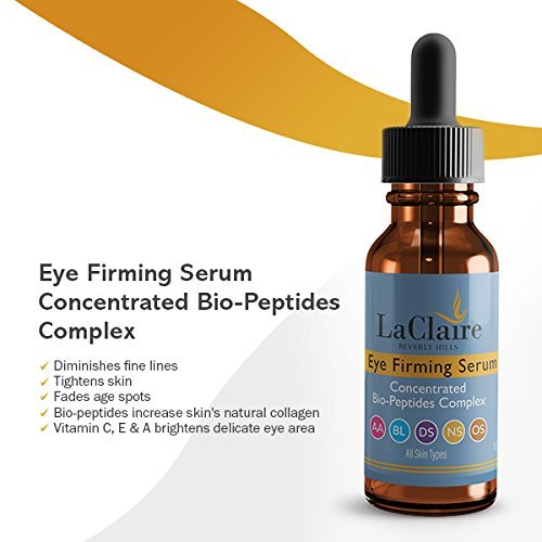 LaClaire Eye Firming Serum with Caffeine, Peptides, Botanicals - Best Treatment for Puffy Eyes, Wrinkles, Fine Lines (5 ml/0.5 oz)