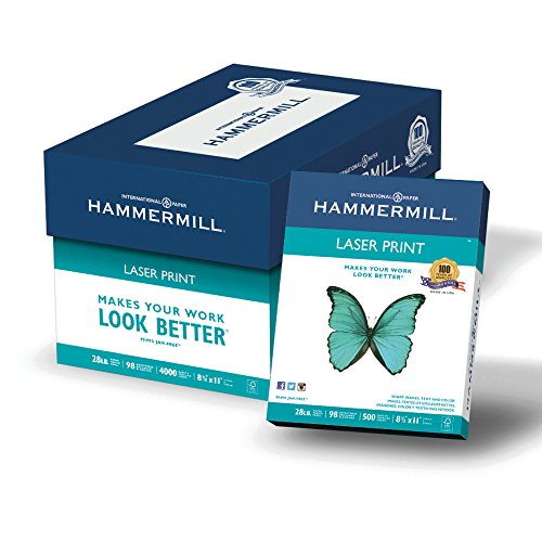 Hammermill Paper, Laser Print Paper, 28lb, 8.5 x 11, Letter, 98 Bright, 4000 Sheets / 8 Ream Case (125534C), Made In The USA