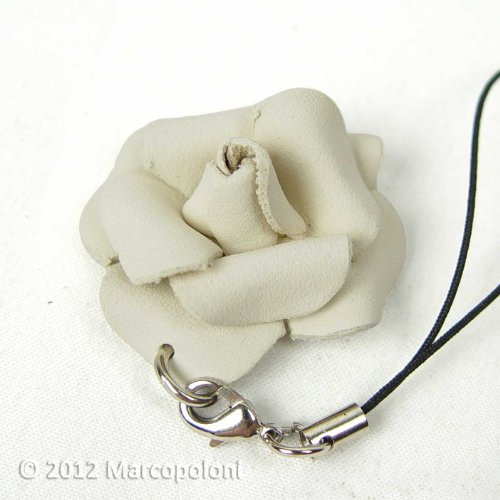 ROSA - Hand-Molded Leather Rose Cell Phone Charm with Dust Plug Attachment, White