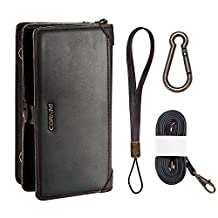 Cornmi Multi-functional Large Capacity Zipper Leather Wallet Detachable Case with Card Slots Shoulder/Wrist Strap and Carabiner for Samsung Galaxy S7 5.1 inch (Black)