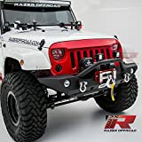 Razer Auto 07-17 Jeep Wrangler JK Black Textured Rock Crawler Front Bumper with OE Fog Light Hole, 2x D-Ring and Built-In Winch Mount Plate