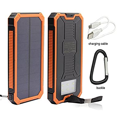 12000mAh Solar Charger, Portable Solar Powered Phone Charger Dual USB Solar External Battery Pack Power Bank for Cellphones With Solar LED Lights For Emergency or As A Camping Light (Orange)