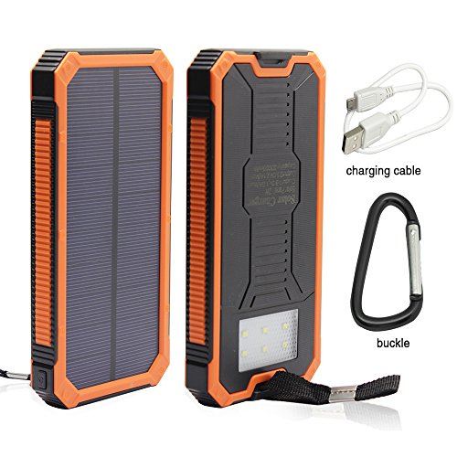 Solar Power Bank, 12000mAh Portable Solar Powered Phone Charger, External Battery Pack for Cellphones with Dual USB Ports, Solar LED Lights for Emergency or as a Camping Light (Orange)