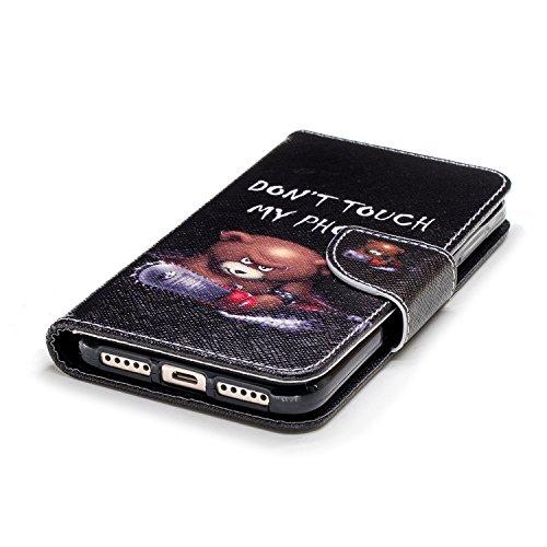 Funda para Xiaomi Redmi 4X , IJIA Osos De Sierra Eléctrica TPU + PU Ranuras para Tarjetas de Crédito Flip Folio Caja [Estilo Libro,Soporte Plegable ] Cover Tapa Caso Parachoques Carcasa Cubierta para