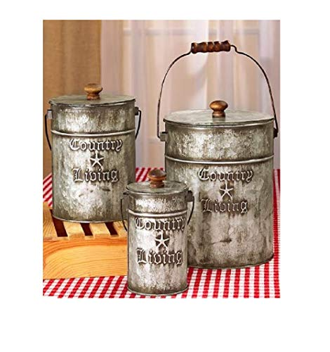 trois_s 3 GALVANIZED CANISTERS Vintage Retro Country Living Kitchen Bath Laundry Storage