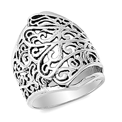 Oxidized Filigree Swirl Wide Victorian Ring .925 Sterling Silver Band Size (Wide Filigree Swirl Ring)
