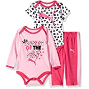 PUMA Baby Girls Three Piece Creeper Bodysuit Set, Pink Glow, 6-9 Months