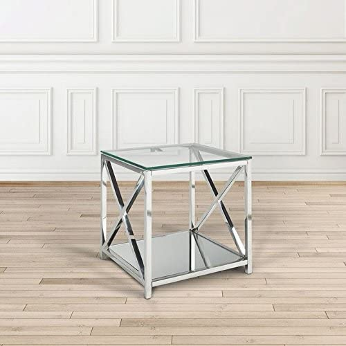 Uptown Club The Ellen Collection Modern Style Steel Frame Tempered Glass Top Living Room End Table