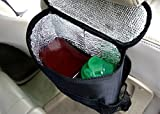 Car Back Seat Organizer Hanging Cooler Set Heat-Preservation Insulated Wrap Bottle Bag Mesh Pockets Seats Pouch (Black)