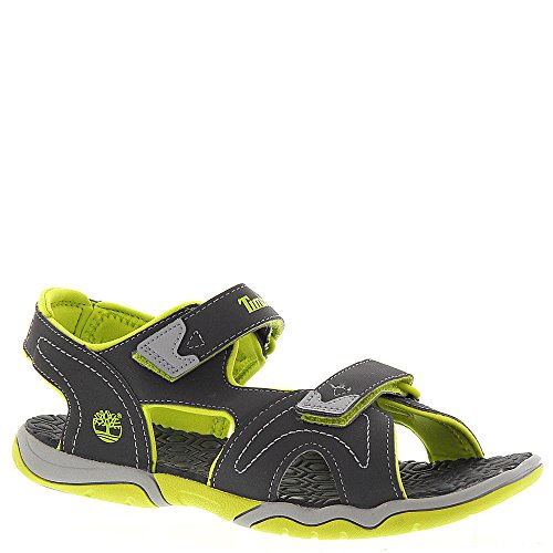 Nubuck Boys Sandals - Timberland Adventure Seeker Two-Strap Sandal (Big Kid),Dark Grey/Green,7 M US Big Kid