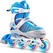 PAPAISON Fly Knitting Upper Adjustable Illuminating Inline Skates for Boys and Girls with Full Light up Wheels