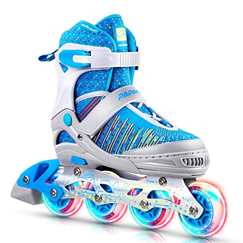 PAPAISON Girls and Boys Adjustable Inline Skates with Light up Wheels, Roller Blades for Kids and Youth, Women Ladies