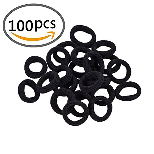 KWJOY Seamless 2.5cm in Diameter Elastic Cotton stretch Hair Ties Bands for Toddler Baby Girl Women VERY Thin & Fine Hair,Small Size Rubber Band Ponytail Holders(100pcs) (Black)