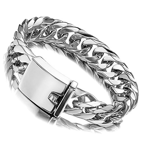 Jxlepe Miami Cuban Link Chain Bracelet 16mm Big Silver White Stainless Steel Curb Bangle for Men (7.5) ()