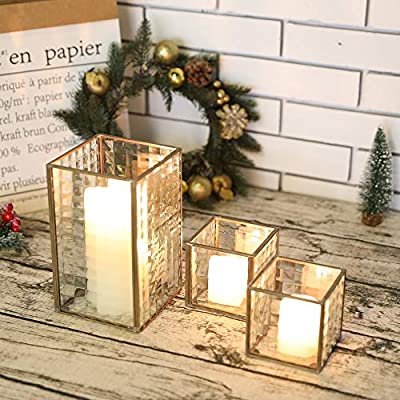 Set of 3 Copper Frame with Texture Glass Hurricane Candleholder Lantern Decorative Box Plant Terrarium Tabletop Curio Case/Shadow Box For Home Decor and Wedding (Copper)