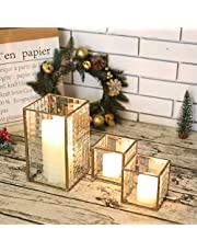 JHY Design Set of 3 Copper Frame with Texture Glass Hurricane Candleholder Lantern Decorative Box Plant Terrarium Tabletop Curio Case/Shadow Box Great