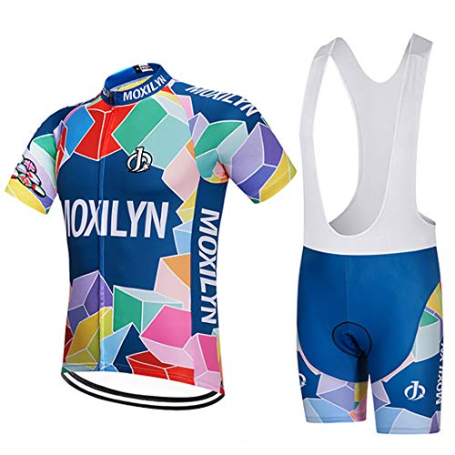 Men's Bike Clothing Set Cycling Jerseys Road Bicycle Shirts Kit + Bib Shorts Quick-Dry Full Zipper Riding Clothes ()