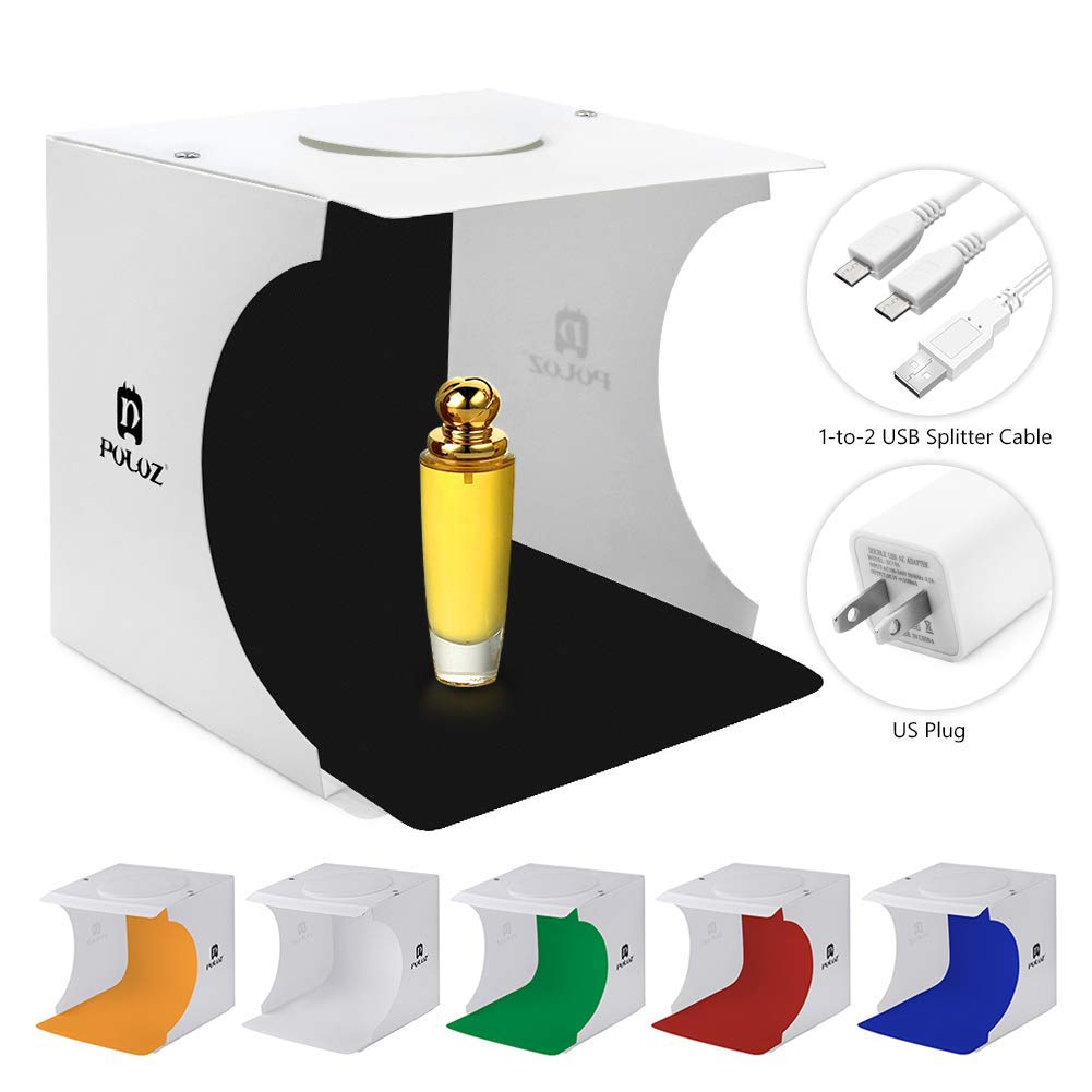 Light Box Photography, Mini Portable Photo Studio Box, Jewellery - Small Item - Product Photography, Lightbox (Extra Dual-Port USB Charger, 3.3ft USB Cord, 6 Backdrops)