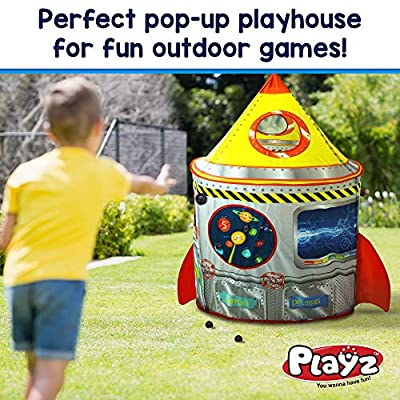Playz 5-in-1 Rocket Ship Play Tent for Kids with Dart Board, Tic Tac Toe, Maze Game, & Immersive Floor - Indoor & Outdoor Popup Playhouse Set for Toddler, Baby, & Children Birthday Gifts: Toys & Games