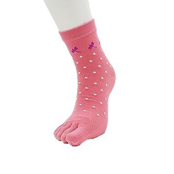 prape Hembra Algodón Calcetines Tubo Medio Calcetines del Dedo del Pie Desodorante Calcetín 6 Pares: Amazon.es: Deportes y aire libre