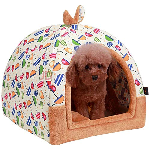 Hanshu 2 in 1 Pet House and Sofa Indoor Soft Warm Washable Igloo Pyramid Cat Dog Beds,(Colorful Umbrella, L)