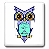 Russ Billington Monograms- Cute Owl Initial X – Initial Letter X- Cute Owl in Turquoise Pink and Lavender – Light Switch Covers – double toggle switch (lsp_241085_2)
