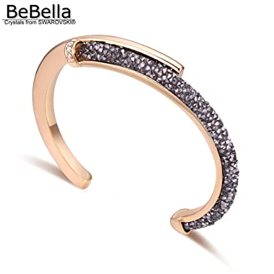 HITSAN INCORPORATION BeBella Crystal Rocks dust Cuff Bracelet Bangle with  Crystals from Swarovski Fashion Jewelry for aa65c4145396