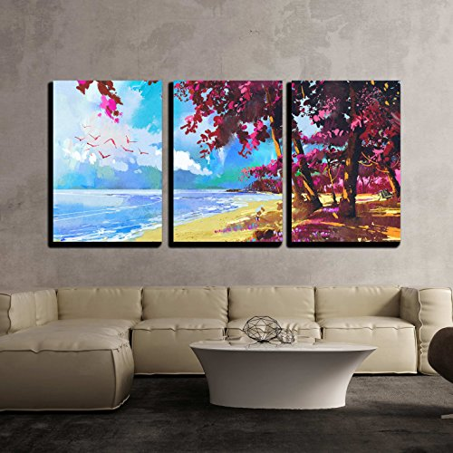 Pink Trees on the Beach Summer Landscape Illustration x3 Panels
