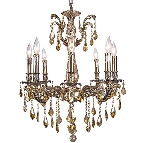 Classique 8 Light Crystal Chandelier Light Fixture In Sierra Bronze Finish With Golden Teak French Cut Crystals