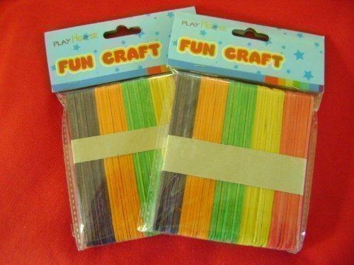 2 PACKS (100) COLOURED WOODEN LOLLY POP STICKS KIDS ART & CRAFTS.