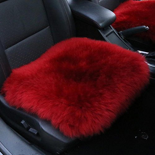 Cover ,MLOVESIE Universal Fit Luxurious Fluffy Wool Vehicle Chair Pad,45cm45cm (Wine Red) ()