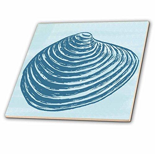3dRose Blue Nautical Sea Shell - Ceramic Tile, 4-inch (ct_195673_1)
