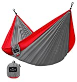 Image of Hammock for Camping - Single & Double Hammock by YAKOUTFITTERS - Portable Gear for The Outdoors Backpacking Survival, Travel, Indoors Sleeping - Best Quality Strong Parachute Nylon Hammocks