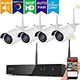 [Audio Video & Color Night Vision] xmartO 8CH 960p HD Expandable Wireless Security Camera System with 4x 960p HD WiFi Night Color Outdoor WiFi Cameras, Dream Liner WiFi Relay, Built-in Router, No HDD