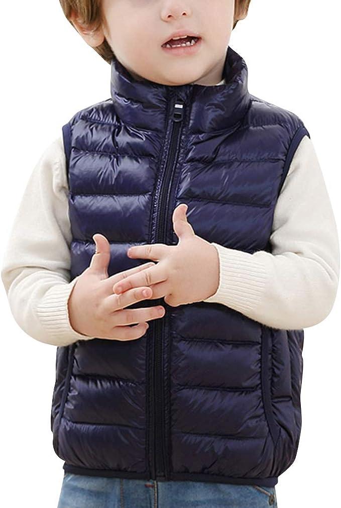 Enfant Gilet en Duvet Hiver Gar/çons Filles Manteaux Rembourr/é sans Manche Manteau Matelass/é L/éger Doudoune Veste