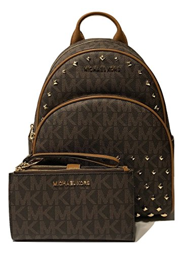 Abbey Messenger - MICHAEL Michael Kors Abbey MD Studded Backpack bundled with Michael Kors Jet Set Travel Double Zip Wallet Wristlet (Signature MK Brown/Acorn)