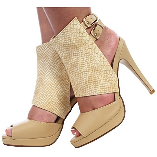 CORE COLLECTION Womens Ladies Cut Out PEEP Toe Ankle Strap Buckles Stiletto HIGH Heel Shoes Nude Snake Pu VgKbaNB