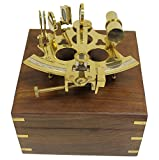 THORINSTRUMENTS (with device) 6'' Brass Astrolabe Sextant w/Decorative Wooden Box: Nautical