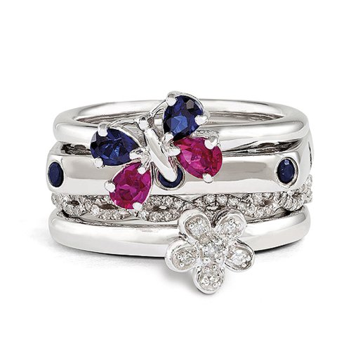 Sterling Silver Stackable Summer Sensation Ring Set Size 7 by Stackable Expressions