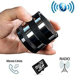 SUPERBASS Mini Altavoz Bluetooth Portátil con Radio, Micrófono y lector de Tarjeta MicroSD. Pequeño Altavoz Inalámbrico muy Potente, con Manos Libres para Teléfonos Móviles, Tablets y Ordenadores. Compatible con IOS, Android, Mac y PC. Con Sistema Super Bass Xpansion que resalta los graves.