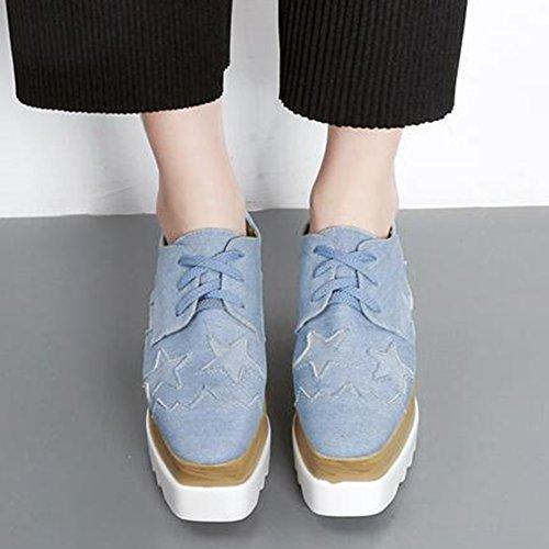 50480f8e55934c ... Easemax Toile À La Mode Toile Couture Étoiles Lace Up Plate Orteil  Plateforme Mi-talon
