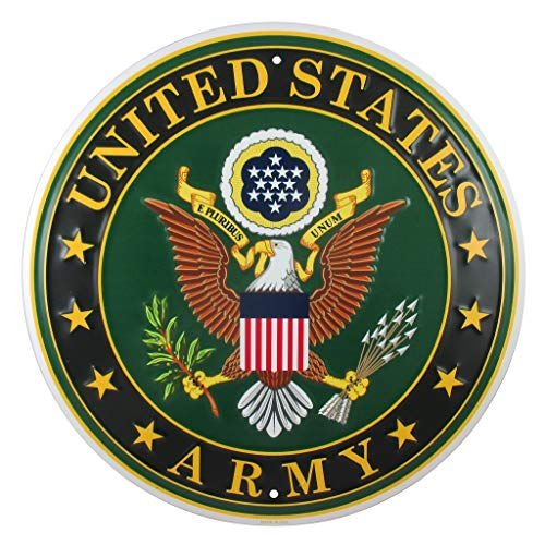 Logo Wall Decor - Tags America United States Army Logo Metal Sign, 12 Inch Round Embossed Aluminum Emblem, US Military Service Branch Wall Decor